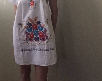 Woman mexican ethnic embroidered dress