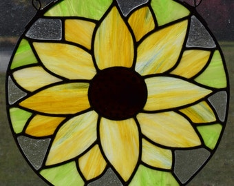 Sunflower Leaded Stained Glass Panel