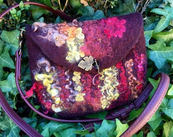 Hand-Felted shoulder bag,  messenger bag