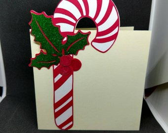 Candy cane cutout Christmas card
