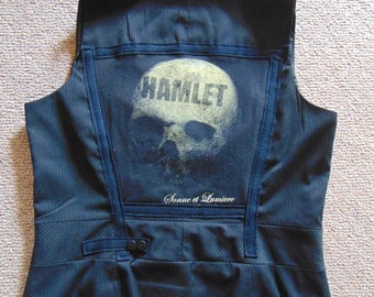 Pinstripe Vintage London Theatre Waistcoat Hamlet To Be or Not To Be Theatre Goth sz 12 Shakespeare Ophelia