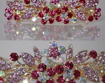 "Pink Swarovski Crystal Rhinestone Hair Barrette Clip Comb STUNNING 3.5"" Lichen Jewelry"