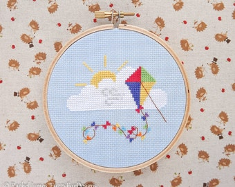 Cute Rainbow Kite Easy Beginners Cross Stitch Pattern PDF