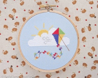 Cute Rainbow Kite Cross Stitch Pattern PDF | Easy | Modern | Beginners Counted Cross Stitch | Instant Download