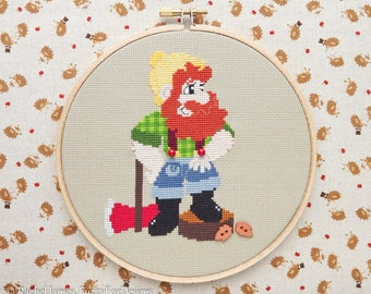 Woodsman Woodcutter Lumberjack Cross Stitch Pattern PDF | Little Red Fairy Tale Series | Easy | Modern | Beginners Counted Cross Stitch