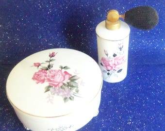 Vintage Perfume Atomizer and Powder Box - Royal Bavaria Made in Germany