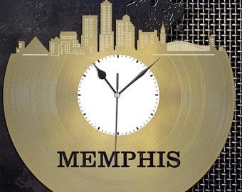 Memphis Skyline - Memphis Clock, Tenessee Cityscape Clock, Large Wall Art Clock,  Unique Wall Clock,  Birthday, Anniversary, Wedding Gift