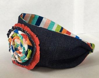 Fabric Headband, Denim Striped Headband, Child Headband, Girls Headband, Stiped Fabric, Flower Headband, Ready To Ship, Kids Headband