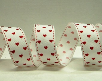 Wired Valentines Ribbon ~1.5 inch  White Ribbon with Tiny Red Hearts & Red Stitched Edges ~ Valentines Day Craft / Decor Ribbon ~ 5 Yards