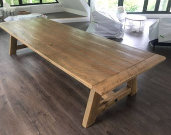 Hand made by us . English Oak Refectory Dining Table. Seats 16 people with comfort.