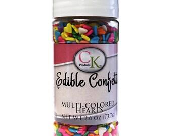 Edible Confetti Multicolored Hearts - 2.6 oz