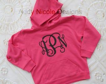 Childrens Youth Monogram Sweatshirt, Vinyl Monogram Sweatshirt, Hoodie Sweatshirt, Toddler Sweatshirt