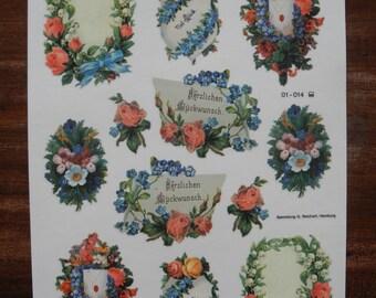 50% SALE - Flowers Herzlichen Gluckwunsch decal water transfer decoration stickers