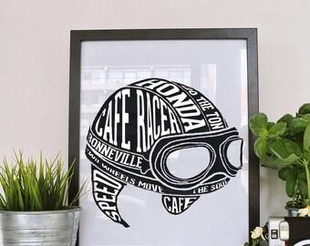 Cafe Racer Helmet Wall Art - Digital Download - High Resolutions - Printable Wall Art