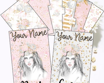 Planner Dividers and Bonus Dashboard - Blush Romance Double Sided Pattern - 6 Tab Laminated Dividers and Bonus Dashboard - Foiled with Name