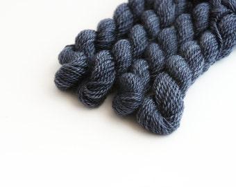 Hand dyed embroidery yarn | charcoal blue | embroidery wool | wool | silk | laceweight knitting | cross stitch | tapestry | weaving | 20m