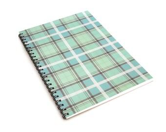 Green Pastel Tartan A5 Notebook