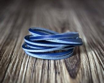 Blue chain leather bracelet - Women's bracelet - Men's bracelet - Braid bracelet - Blue bracelet - Men's gift - Women's gift