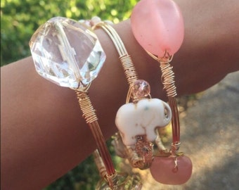 Wire wrapped bangles, stackable wire bangles, wire wrapped bracelets, set of 3 pink, white, and marble elephants bracelets