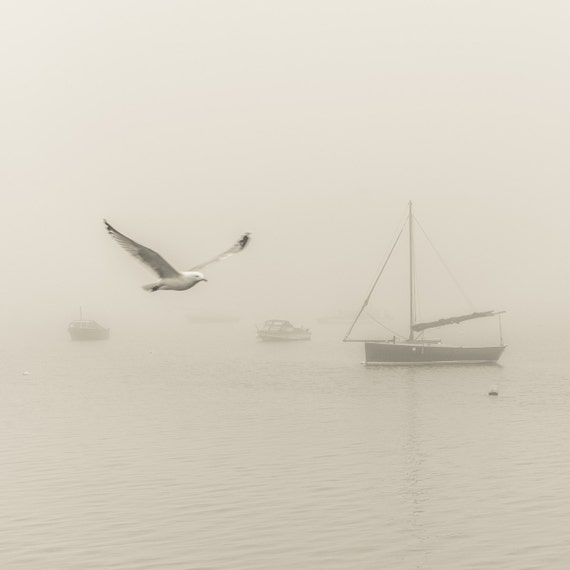 THE FOG. Poole Harbour, Dorset Print, Boats in the Fog, Sea Mist Picture, Photographic print