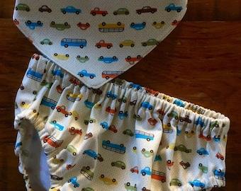 Baby Boy Gift, Diaper Cover Gift Set, Bandana Bib, Car Print Diaper Cover, Baby Shower Gift, Baby Gift, Ready to ship, Gift Set
