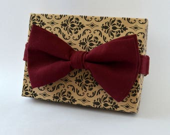 Mulberry Wine Bow Tie, Pocket Square-Wedding Burgundy Bow Ties, Mens Bow Ties/Ties For Men, Boys Bow Ties/Kids Bow Ties