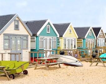Dorset, coast, beach huts, Hengistbury Head, summer, wall art, photography,  colour, giclée, digital art, archival paper, holidays,