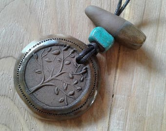 Ceramic clay handmade tree of life natural pendant necklace