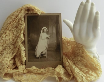 French Cabinet Card Girl in White with Veil Confirmation Photo Great Background