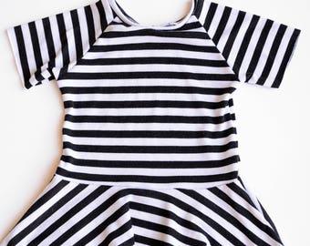 Baby Toddler Peplum Top, Black White Striped Peplum Top