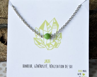 Jade necklace stainless steel