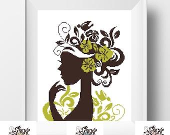 Modern Cross Stitch Pattern Funny Cross Stitch Flower Head Woman cross stitch baby Modern Embroidery Cool cross stitch Plant Easy chart PDF