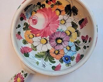 Bowl with handle, glazed ceramic serving bowl, handled pot, vintage bowl, pretty bowl, Italian folk feminine floral design, cottage chic