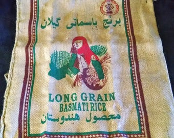 Gilan Brand Indian Basmati Burlap Rice Bag 40 Lbs ~ lots of uses including décor and crafting