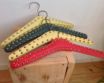 Vintage clothes hangers, faux leather with studs, coat hanger, wardrobe