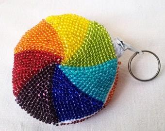 Coin purses Colorful bag Beaded bag Rainbow Beadwork Beaded purse Crochet bag Multicolor bag Knitted Rainbow purse Seed bead bag Fun purse