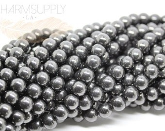 Natural Shungite Round beads 6mm, 8mm,10mm,12mm,14mm,16mm FULL STRAND SP14-001