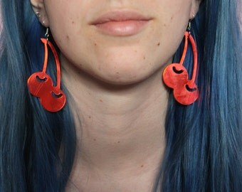 Red Cherry Reflective Earrings