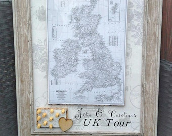 Personalised Traveller's Journey UK or World Pin Map Frame