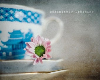 Vintage Inspired Photographic Art - Still Life Photo of China Teacup & Pink Flower, Kitchen Wall Art, Floral Art Print, 10x8, 14x11 photo
