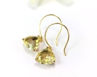 Citrine Earrings Yellow Champagne Glass Drop Earrings Citrine Dangle Earrings Champagne Yellow Wedding Jewelry Bridal November Birthstone