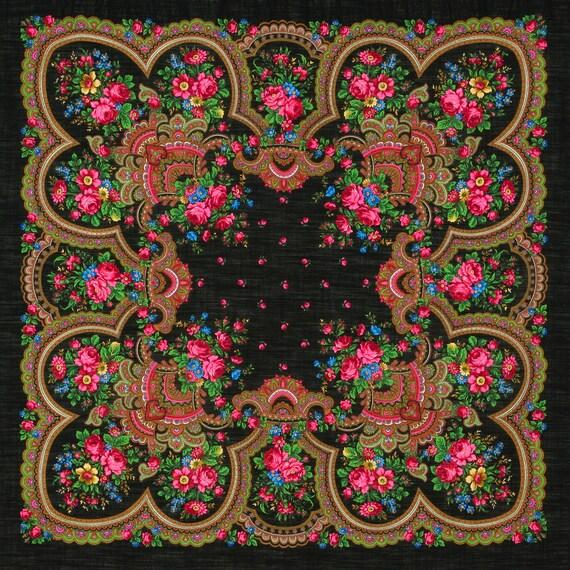 "Scarf woolen with a silk fringe ""Russian soul""  125x125 cm 49''x49'' / Wool floral pavlovo posad shawl"