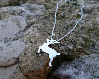 Sterling silver reindeer necklace , Reindeer necklace ,Sterling silver reindeer , Silver reindeer necklace , Reindeer pendant