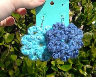 Blue Flower Crochet Earrings