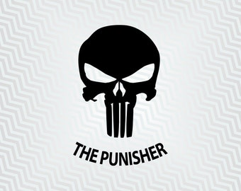 The Punisher Skull, The Punisher Svg, Outline, Cutout, Vector art, Cricut, Silhouette Cameo, die cut, Digital Cut, Print Files, Ai, Pdf, Svg
