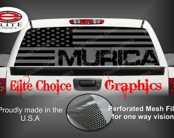 Murica Gray America Flag 2 Rear Window Graphic Tint Decal Sticker Truck SUV Van Car