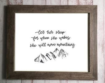 Let her sleep nursery quote, nursery decor, mountain nursery, wall decor, wall art, digital nursery decor, inspirational quote