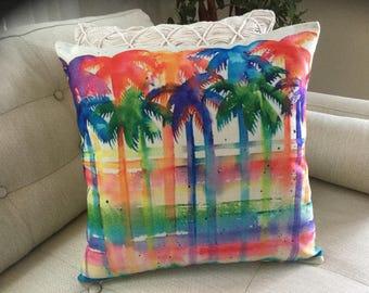 "PALM TREE Accent Decorator Pillow. FREE Pillow Form/Insert. 16""x16"". Cotton/linen.. Coastal Decor. Beach Decor. Nautical Decor"