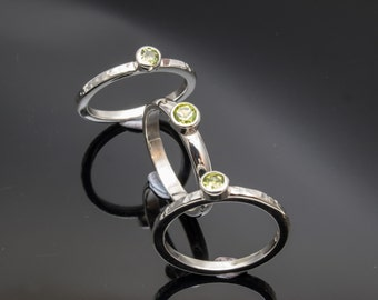 Hand Made Silver Stack Rings Set with Peridot