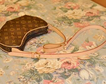 Mcraft Vachette Leather Strap Extender for Louis Vuitton Croissant PM bag. Make Bag Wear Cross body. Patina Leather Strap